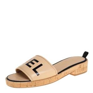 Chanel Beige/Black Logo Cork Slide Sandals Size 40