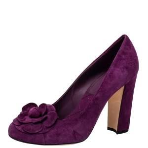 Chanel Purple Suede Camellia CC Block Heel Pumps Size 38.5