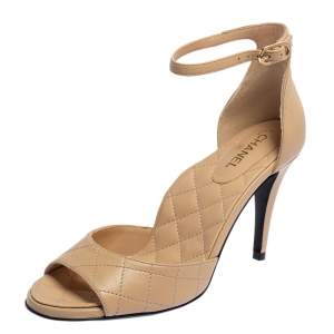Chanel Beige Quilted Leather Ankle Strap Sandals Size 37