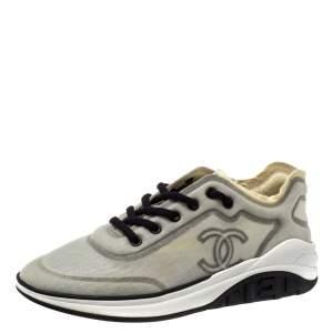 Chanel Grey/Black Net CC Sneakers Size 40
