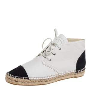 Chanel White/Black Leather And Canvas High Top Espadrille Sneakers Size 40