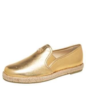 حذاء لوفرز شانيل إسبادريل سي سي جلد ذهبي ميتاليك مقاس 36