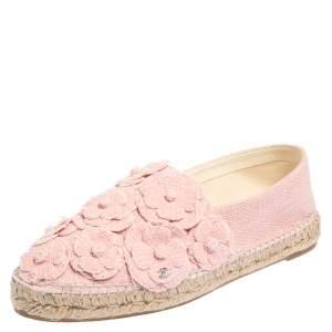 Chanel Pink Tweed Fabric CC Camellia Espadrilles Size 42