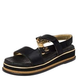 Chanel Black Satin CC Velcro Strap Flat Sandals Size 40
