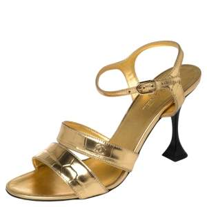 Chanel Gold Crocodile Embossed Leather CC Ankle Strap Sandals Size 38.5
