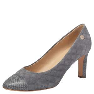 Chanel Grey Quilted Suede And Python Leather Cap Toe CC Pumps Size 41.5
