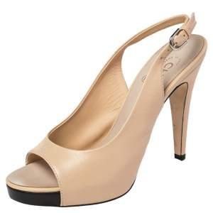 Chanel Beige Leather CC Peep Toe Platform Slingback Sandals Size 38.5
