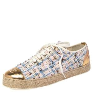 Chanel Multicolor Tweed And Foil Leather CC Logo Low Top Espadrille Sneakers Size 40