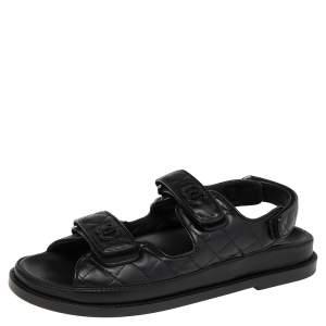 Chanel Black Leather Velcro Flat Sandals Size 39.5