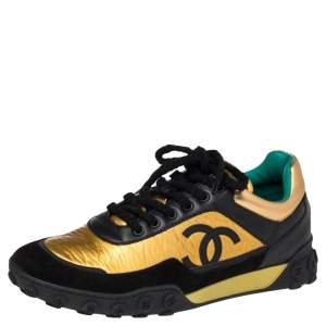 Chanel  Black/Gold Croc Embossed, Leather and Suede Logo CC Sneakers Size 42