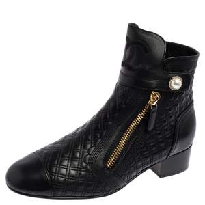 Chanel Black Quilted Leather Pearl Embellished Ankle Boots Size 39.5