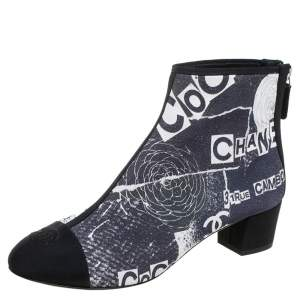 Chanel Multicolor Logo Printed Suede and Fabric CC Cap Toe Ankle Boots Size 37