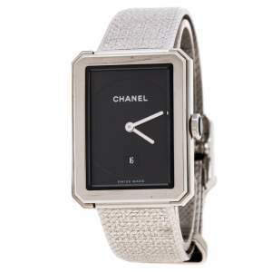 ساعة يد نسائية شانيل بوي-فريند H4878 غاليوش ستانلس ستيل سوداء 27 مم