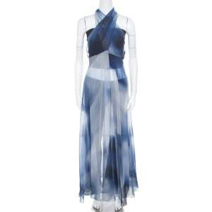 Chanel Blue Printed Silk Beach Cover Up M