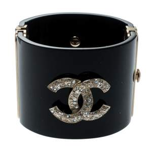 Chanel CC Crystal Studded Black Gold Tone Wide Cuff Bracelet
