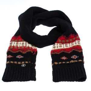Chanel Black Chunky Intarsia Knit Wool Blend Muffler