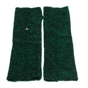 Chanel Green Lurex Knit Embellished Fingerless Gloves