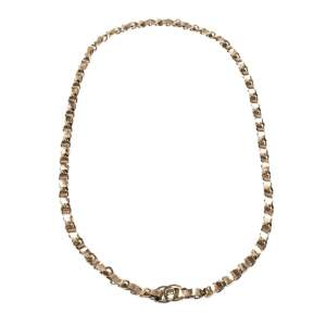 Chanel CC Turnlock Metallic Leather Gold Tone Chain Link Necklace