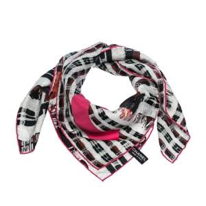 Chanel Black & Pink Tweed Print Silk Scarf