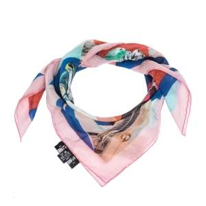 Chanel Multicolor Cuba Car Printed Cotton Square Scarf