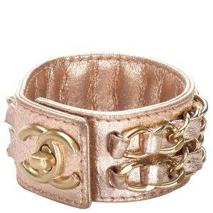 Chanel CC Turnlock Golden Leather Cuff Bracelet