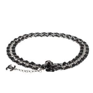 Chanel Camellia Black Enamel Grosgrain Silver Tone Chain Link Belt