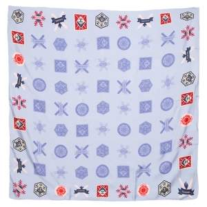 Chanel Blue Coco Snow Print Silk Square Scarf