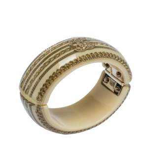 Chanel Resin & Crystal CC Gold Tone Oval Bangle