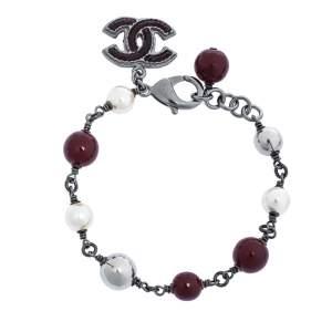 Chanel Faux Pearl Enamel CC Charm Beaded Bracelet