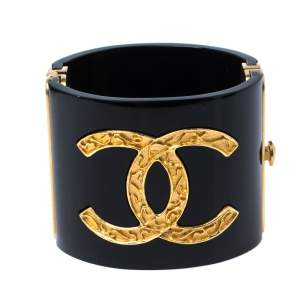 Chanel CC Black Resin Gold Tone Wide Cuff Bracelet 17.5 cm