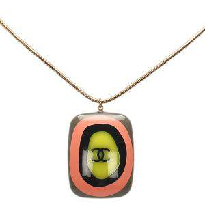 Chanel CC Gold Tone Metal And Plastic Pendant Necklace
