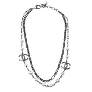 Chanel Strass CC Faux Pearl Double Layered Necklace