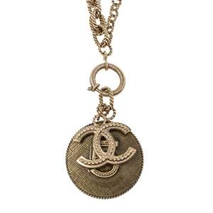 Chanel CC No.5 Resin Gold Tone Long Pendant Necklace