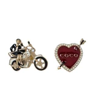 Chanel Red Coco Heart and Rider Lapel Pin Set of 2