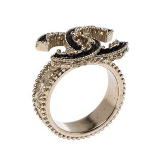 Chanel CC Black Enamel Gold Tone Cocktail Ring Size 55