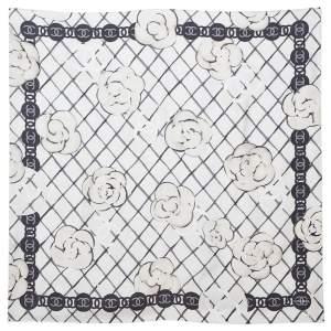 Chanel Cream Camellia Print Silk Twill Square Scarf