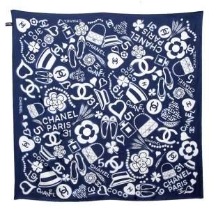 Chanel Dark Blue Multi Icon Print Silk Twill Square Scarf