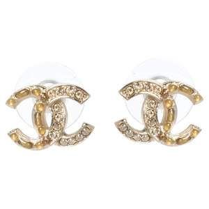 Chanel Resin Crystal CC Gold Tone Stud Earrings