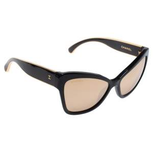 Chanel Black / 18K Gold Mirrored 5271 Cat Eye Sunglasses