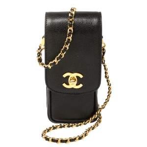Chanel Black Caviar Leather Vintage CC Chain Phone Holder
