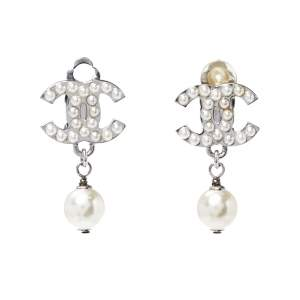 Chanel CC Faux pearl Silver Tone Clip On Drop Earrings
