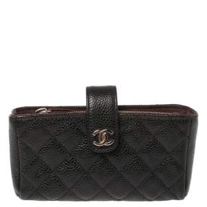 Chanel Black Quilted Caviar Leather CC Phone Holder Clutch