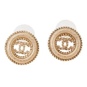 Chanel CC Textured Gold Tone Round Stud Earrings