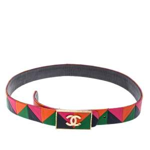 Chanel Multicolor Patchwork Leather CC Belt 80 CM