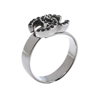 Chanel Gunmetal Tone Crystal CC Ring Size EU 52.5