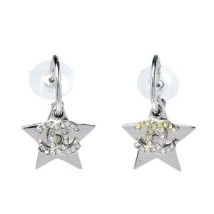 Chanel Crystal CC Star Drop Hook Earrings