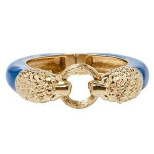 Chanel Blue Enamel Gold Tone Lion Head Magnetic Bracelet