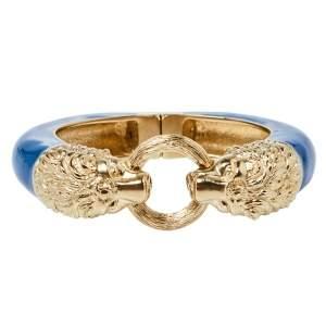 Chanel Blue Enamel Gold Tone Lion Head Magnetic Bracelet