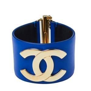 Chanel Blue Leather CC Wide Cuff Bracelet M