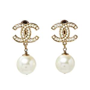 Chanel CC Faux Pearl Drop Clip On Earrings